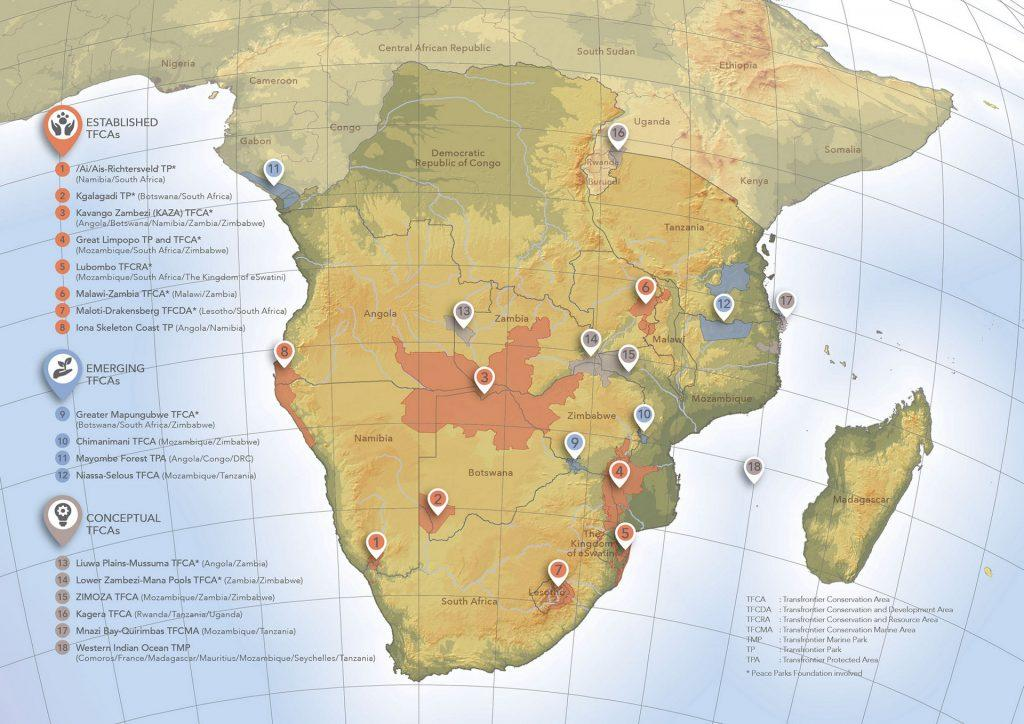 18 trans-frontier conservation areas exist within southern Africa.